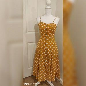 Midi mustard buttoned down dress